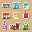 Building icons set on color stickers — Stock Vector