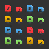 Online shopping iconset on moving stubs — Stock Vector