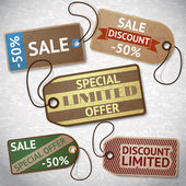 Collection of discount cardboard sale labels — Stock vektor