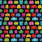 Seamless monsters pattern — Vecteur