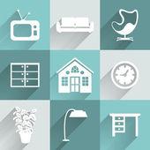 Interior furniture icons set — Stock Vector