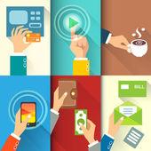 Business hands in action — Stock Vector