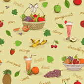 Fruits seamless pattern with names — Stock Vector