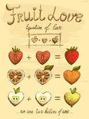 Fruit love formula vintage poster — Vector de stock