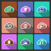 Cloud UI layout icons, squared shadows — Stock Vector