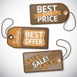 Set of retail cardboard sale tags — Stock Vector