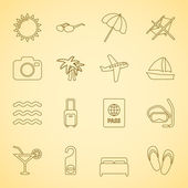Generic travel iconset, contour flat — Stockvector