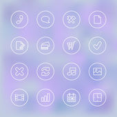Iconset for mobile app UI, transparent clear — Stock Vector