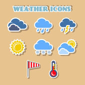 Weather icons set, color stickers — Vetorial Stock