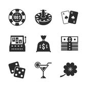Casino iconset for design, contrast flat — Stock Vector