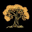 Golden tree on black — Stock vektor