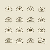 Generic cloud computing iconset, contour flat — 图库矢量图片