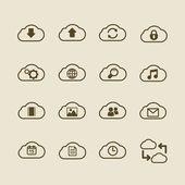 Generic cloud computing iconset, contour flat — Stockvector