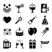 Party icons set, contrast flat — Stock Vector