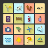 Vacation UI layout icons, squared shadows — Stock Vector
