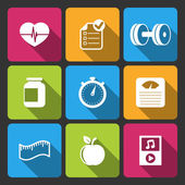 Healthy lifestyle iconset for fitness app — Stock Vector