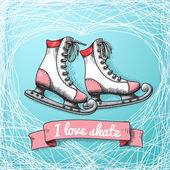 Love skate card theme — Vettoriale Stock