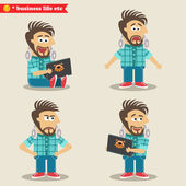 Young IT geek emotions in poses, standing set — Stock Vector