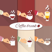 Business hands offering hot coffee drinks — Stock Vector