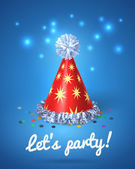Let's party poster with red hat and stars — Stock Vector