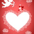 Cupid valentine poster or postcard — Vector de stock
