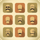 Icons set of hipster mustaches and glasses — Stock Vector