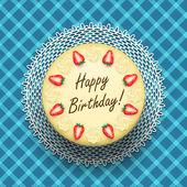 Cheese birthday cake with strawberries — Stock Vector