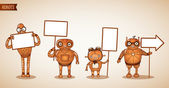 Icons of intelligent machines holding signs — Stok Vektör