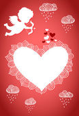 Cupid valentine poster or postcard — Stockvektor