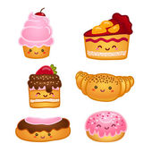 Collection of sweet pastries — Stock Vector