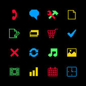 Colored pixel icons set for online shopping — Stock Vector