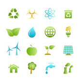 Green eco icons set — Stock Vector