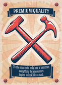 Two retro hammers tool shop poster — Stock Vector