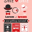 Stock Vector: Hipster wedding invitation card