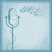 Microphone with music on vintage background — Stock Vector
