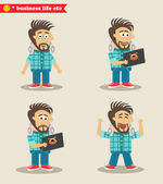 Seasoned IT guy emotions in poses, standing set — Stock Vector
