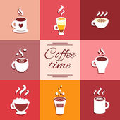 Collection of cup icons with hot coffee drinks — Stock Vector