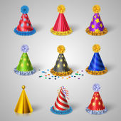 Party hat icons set — Vettoriale Stock