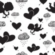 Love cupids hearts arrows and clouds seamless pattern — Stock Vector