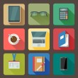 Business set of workplace icons — Stockvector