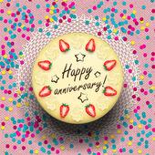 Icecream anniversary cake decorated with strawberries — Stock Vector