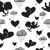 Love cupids hearts arrows and clouds seamless pattern — 图库矢量图片