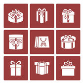 Present boxes icons set for online delivery website — Stock Vector