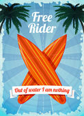 Free rider surfboards poster — Stock Vector