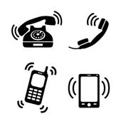 Collection of ringing phones — Stock Vector