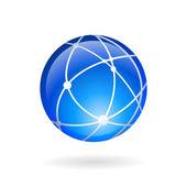 Global technology or social network emblem — Stock Vector