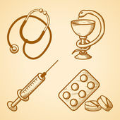 Icons set of medical items — Stockvektor