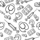 Seamless background of medical items — Stockvector