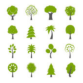 Collection of natural green trees icons set — Stock Vector