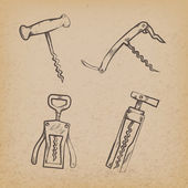 Collection of retro corkscrews — Stock Vector